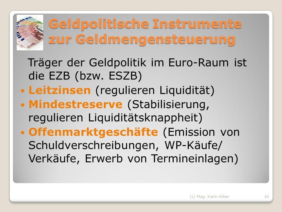 Geldpolitische Instrumente zur Geldmengensteuerung Träger der Geldpolitik im Euro-Raum ist die EZB (bzw. ESZB) Leitzinsen (regulieren Liquidität) Mind