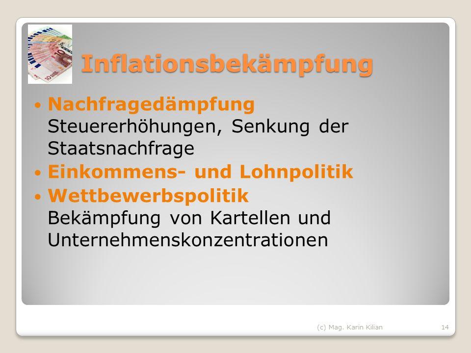 Inflationsbekämpfung Nachfragedämpfung Steuererhöhungen, Senkung der Staatsnachfrage Einkommens- und Lohnpolitik Wettbewerbspolitik Bekämpfung von Kar