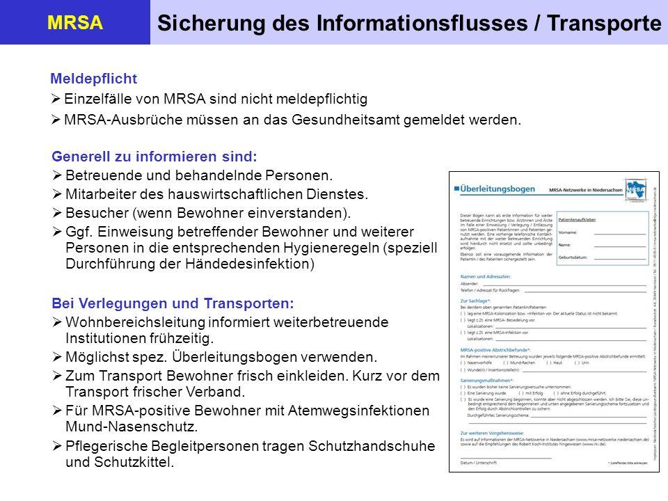 Sicherung des Informationsflusses / Transporte MRSA Meldepflicht Einzelfälle von MRSA sind nicht meldepflichtig MRSA-Ausbrüche müssen an das Gesundhei