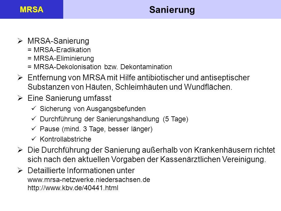 Sanierung MRSA MRSA-Sanierung = MRSA-Eradikation = MRSA-Eliminierung = MRSA-Dekolonisation bzw. Dekontamination Entfernung von MRSA mit Hilfe antibiot