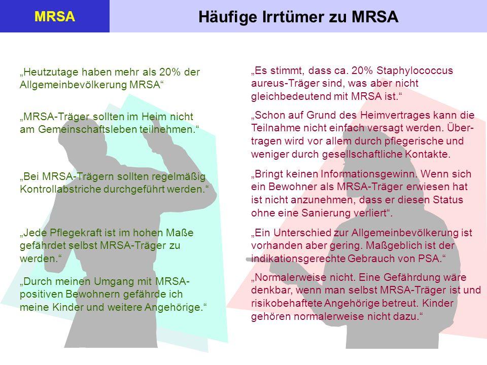 Häufige Irrtümer zu MRSA MRSA Heutzutage haben mehr als 20% der Allgemeinbevölkerung MRSA MRSA-Träger sollten im Heim nicht am Gemeinschaftsleben teil