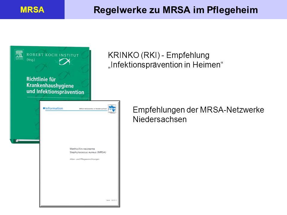 Regelwerke zu MRSA im Pflegeheim MRSA KRINKO (RKI) - Empfehlung Infektionsprävention in Heimen Empfehlungen der MRSA-Netzwerke Niedersachsen