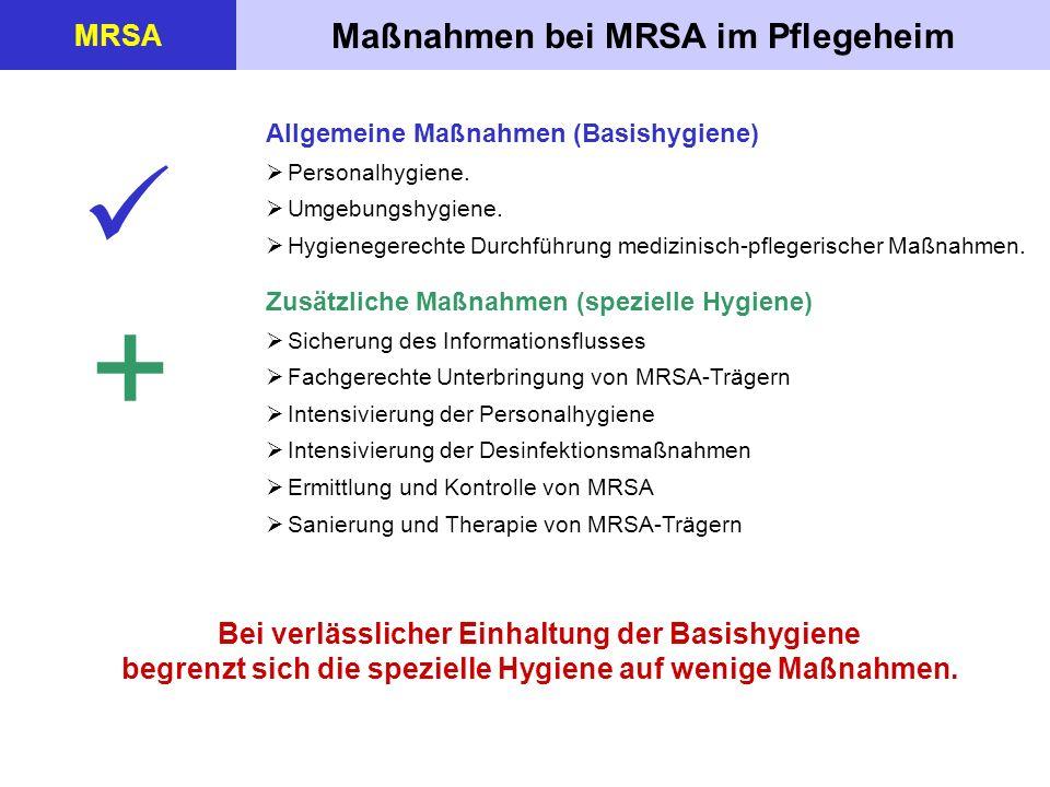 Maßnahmen bei MRSA im Pflegeheim MRSA Bei verlässlicher Einhaltung der Basishygiene begrenzt sich die spezielle Hygiene auf wenige Maßnahmen. Allgemei