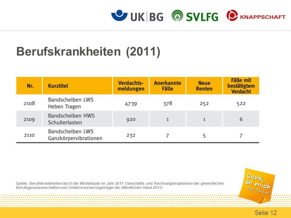 Berufskrankheiten (2011) Quelle: Berufskrankheiten durch die Wirbelsäule im Jahr 2011 (Geschäfts- und Rechnungsergebnisse der gewerblichen Berufsgenos