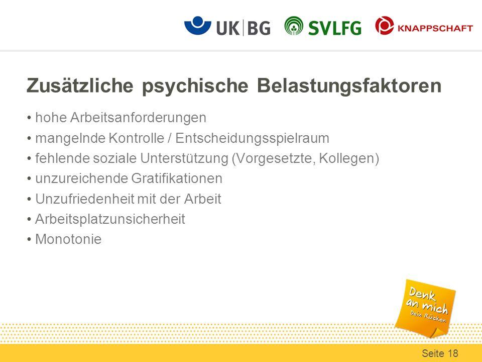 Zusätzliche psychische Belastungsfaktoren hohe Arbeitsanforderungen mangelnde Kontrolle / Entscheidungsspielraum fehlende soziale Unterstützung (Vorge