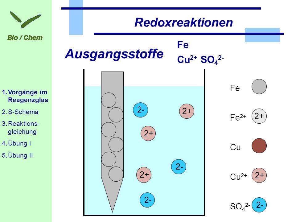 Cu 2+ SO 4 2- Fe Redoxreaktionen Ausgangsstoffe CuFe 2+ Fe 2+ Cu 2+ 2+ SO 4 2- 2- 2+ 2- 1.Vorgänge im Reagenzglas 2.S-Schema 3.Reaktions- gleichung 4.