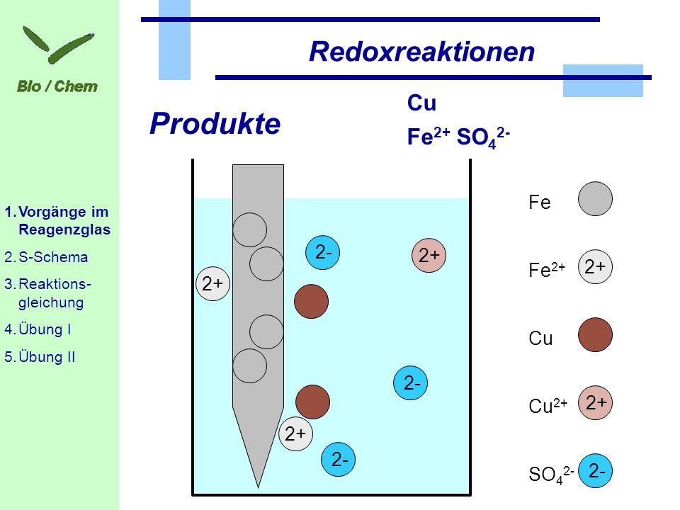 1.Ausgangsstoffe Fe; Cu 2+ ; [SO 4 2- ] 2.Was wird oxidiert, bzw.