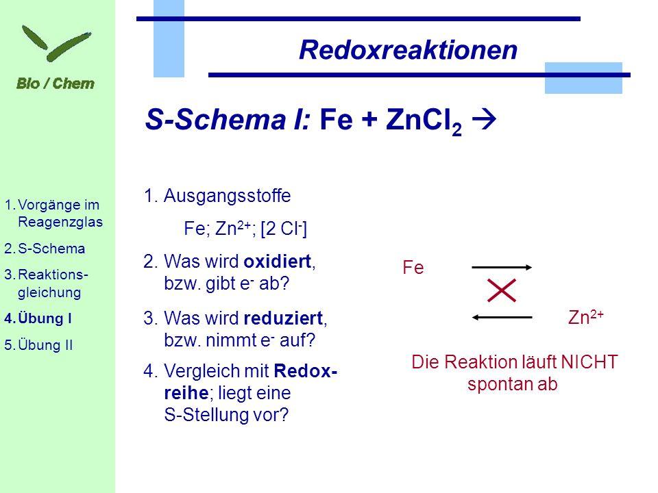 Redoxreaktionen S-Schema I: Fe + ZnCl 2 1.Ausgangsstoffe Fe; Zn 2+ ; [2 Cl - ] 2.Was wird oxidiert, bzw. gibt e - ab? 3.Was wird reduziert, bzw. nimmt