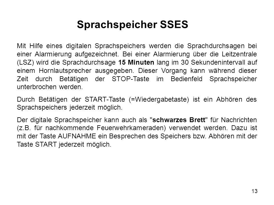 13 Sprachspeicher SSES Mit Hilfe eines digitalen Sprachspeichers werden die Sprachdurchsagen bei einer Alarmierung aufgezeichnet. Bei einer Alarmierun