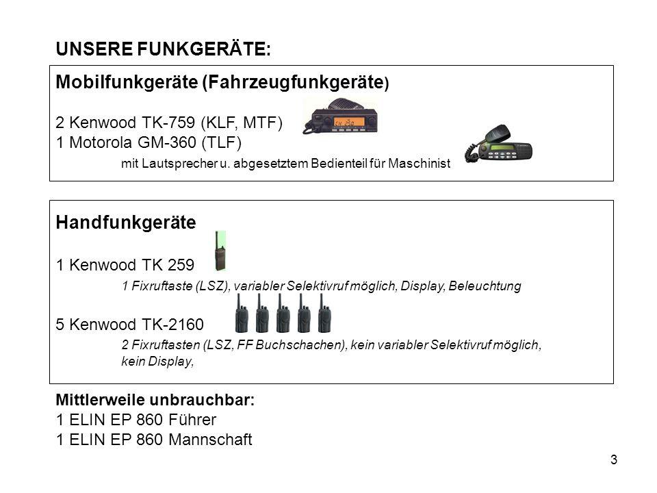 3 UNSERE FUNKGERÄTE: Mobilfunkgeräte (Fahrzeugfunkgeräte ) 2 Kenwood TK-759 (KLF, MTF) 1 Motorola GM-360 (TLF) mit Lautsprecher u. abgesetztem Bedient