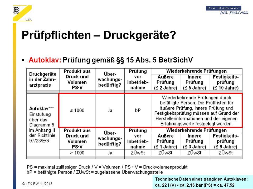 Technische Daten eines gängigen Autoklaven: ca.22 l (V) ca.