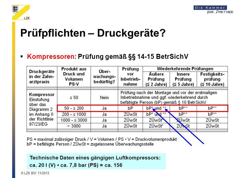 Prüfpflichten – Druckgeräte? Kompressoren: Prüfung gemäß §§ 14-15 BetrSichV Technische Daten eines gängigen Luftkompressors: ca. 20 l (V) ca. 7,8 bar