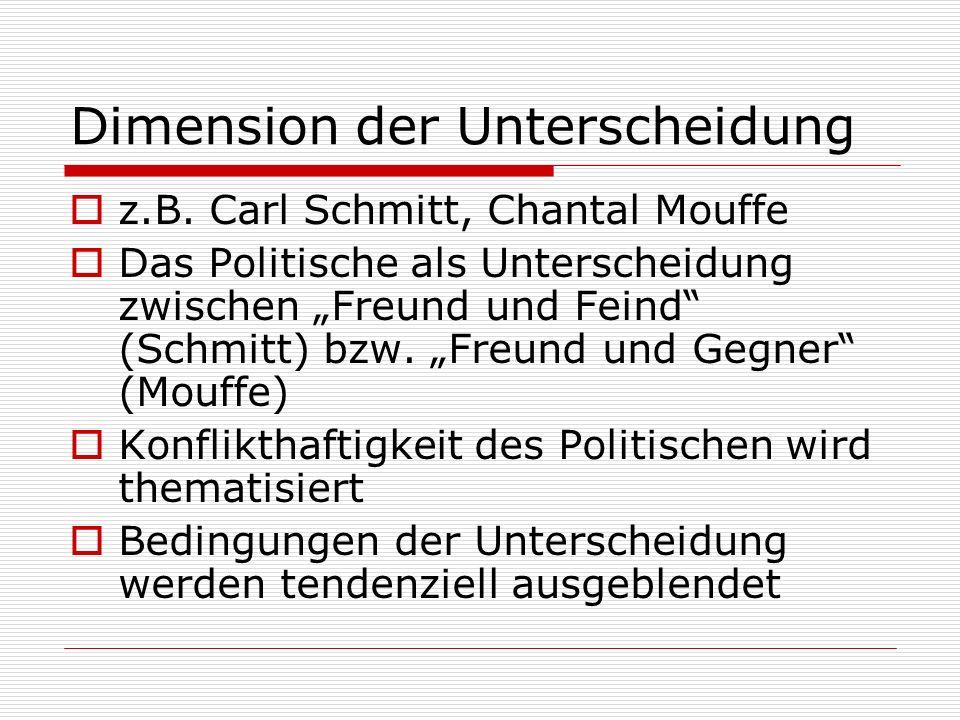 Dimension der Unterscheidung z.B. Carl Schmitt, Chantal Mouffe Das Politische als Unterscheidung zwischen Freund und Feind (Schmitt) bzw. Freund und G