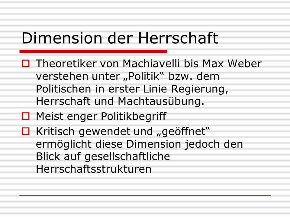Dimension der Herrschaft Theoretiker von Machiavelli bis Max Weber verstehen unter Politik bzw. dem Politischen in erster Linie Regierung, Herrschaft