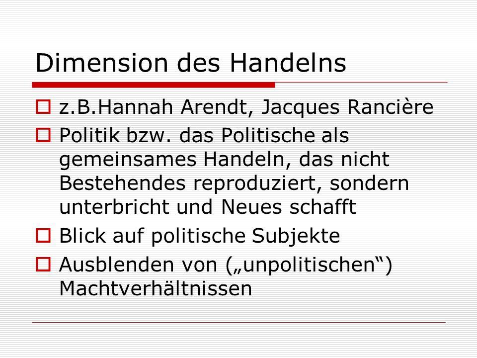 Dimension des Handelns z.B.Hannah Arendt, Jacques Rancière Politik bzw.