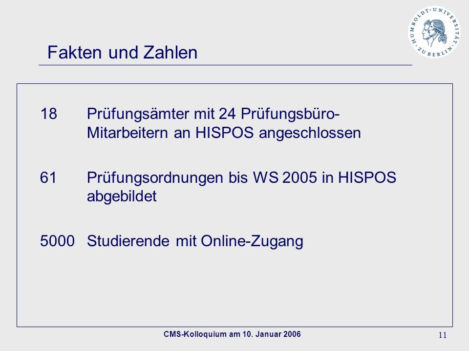 CMS-Kolloquium am 10. Januar 2006 11 Fakten und Zahlen 18Prüfungsämter mit 24 Prüfungsbüro- Mitarbeitern an HISPOS angeschlossen 61Prüfungsordnungen b
