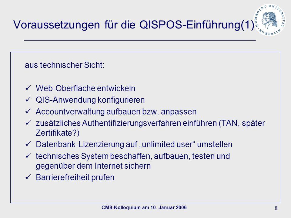 CMS-Kolloquium am 10. Januar 2006 8 Voraussetzungen für die QISPOS-Einführung(1) aus technischer Sicht: Web-Oberfläche entwickeln QIS-Anwendung konfig