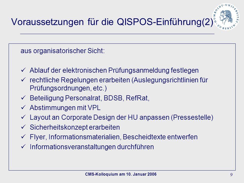CMS-Kolloquium am 10. Januar 2006 9 Voraussetzungen für die QISPOS-Einführung(2) aus organisatorischer Sicht: Ablauf der elektronischen Prüfungsanmeld