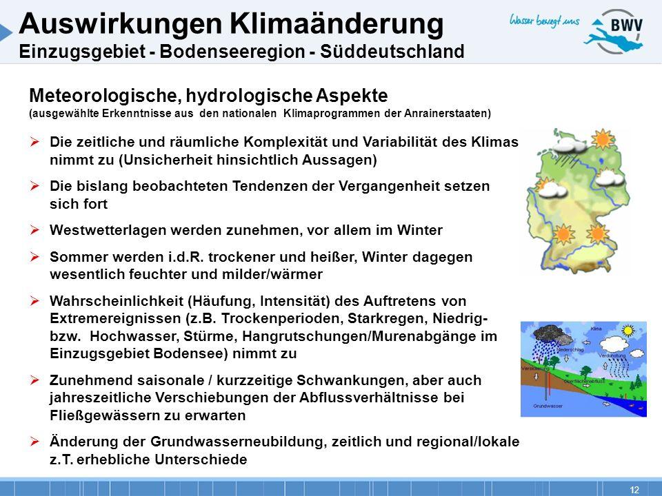 12 Meteorologische, hydrologische Aspekte (ausgewählte Erkenntnisse aus den nationalen Klimaprogrammen der Anrainerstaaten) Die zeitliche und räumlich