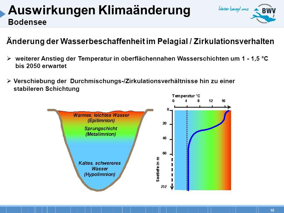 18 Änderung der Wasserbeschaffenheit im Pelagial / Zirkulationsverhalten weiterer Anstieg der Temperatur in oberflächennahen Wasserschichten um 1 - 1,