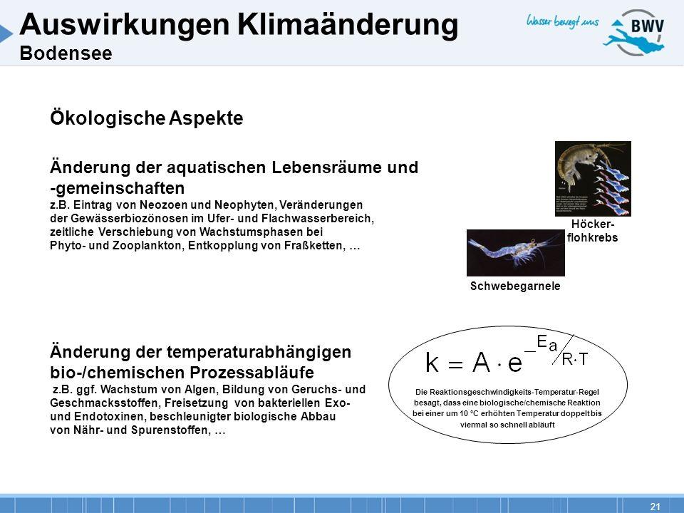 21 Ökologische Aspekte Änderung der aquatischen Lebensräume und -gemeinschaften z.B. Eintrag von Neozoen und Neophyten, Veränderungen der Gewässerbioz