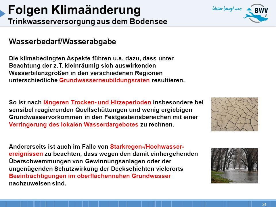 24 Wasserbedarf/Wasserabgabe Die klimabedingten Aspekte führen u.a. dazu, dass unter Beachtung der z.T. kleinräumig sich auswirkenden Wasserbilanzgröß