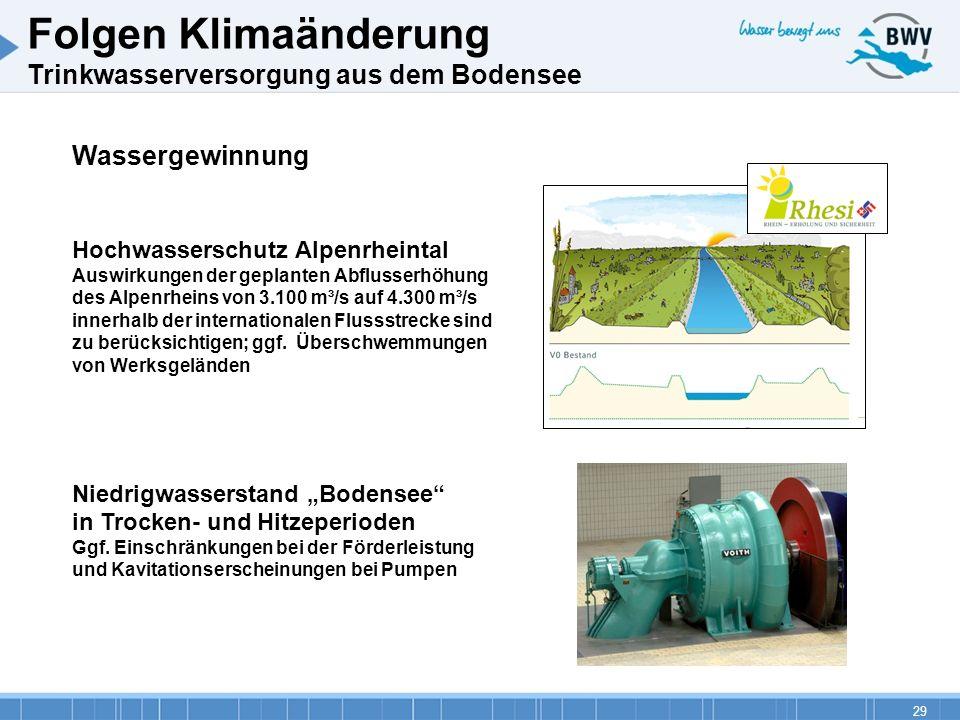29 Folgen Klimaänderung Trinkwasserversorgung aus dem Bodensee Wassergewinnung Hochwasserschutz Alpenrheintal Auswirkungen der geplanten Abflusserhöhu