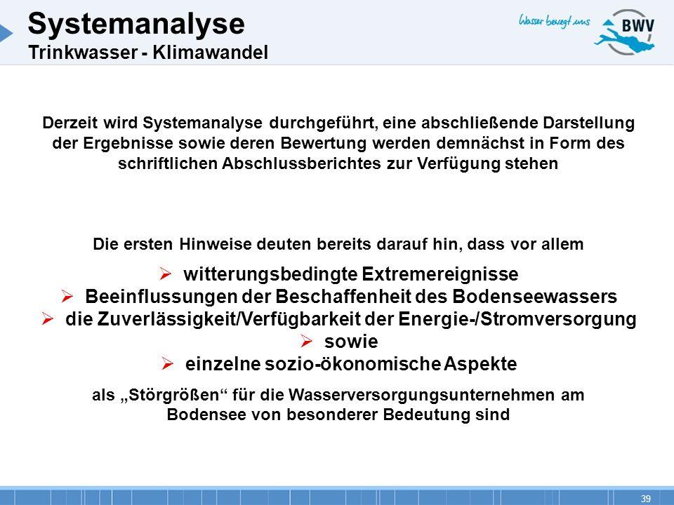 39 Systemanalyse Trinkwasser - Klimawandel Derzeit wird Systemanalyse durchgeführt, eine abschließende Darstellung der Ergebnisse sowie deren Bewertun