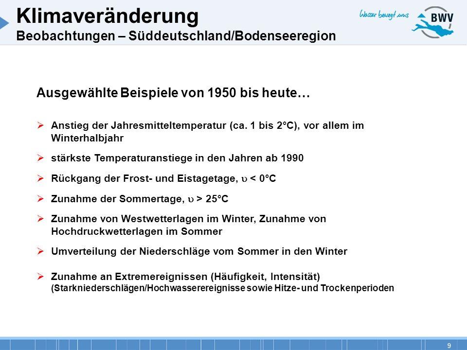 9 Ausgewählte Beispiele von 1950 bis heute… Anstieg der Jahresmitteltemperatur (ca. 1 bis 2°C), vor allem im Winterhalbjahr stärkste Temperaturanstieg