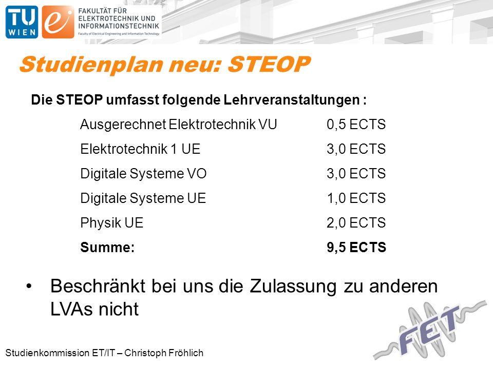 Studienkommission ET/IT – Christoph Fröhlich Studienplan neu: STEOP Die STEOP umfasst folgende Lehrveranstaltungen : Ausgerechnet Elektrotechnik VU 0,5 ECTS Elektrotechnik 1 UE 3,0 ECTS Digitale Systeme VO3,0 ECTS Digitale Systeme UE1,0 ECTS Physik UE2,0 ECTS Summe:9,5 ECTS Beschränkt bei uns die Zulassung zu anderen LVAs nicht