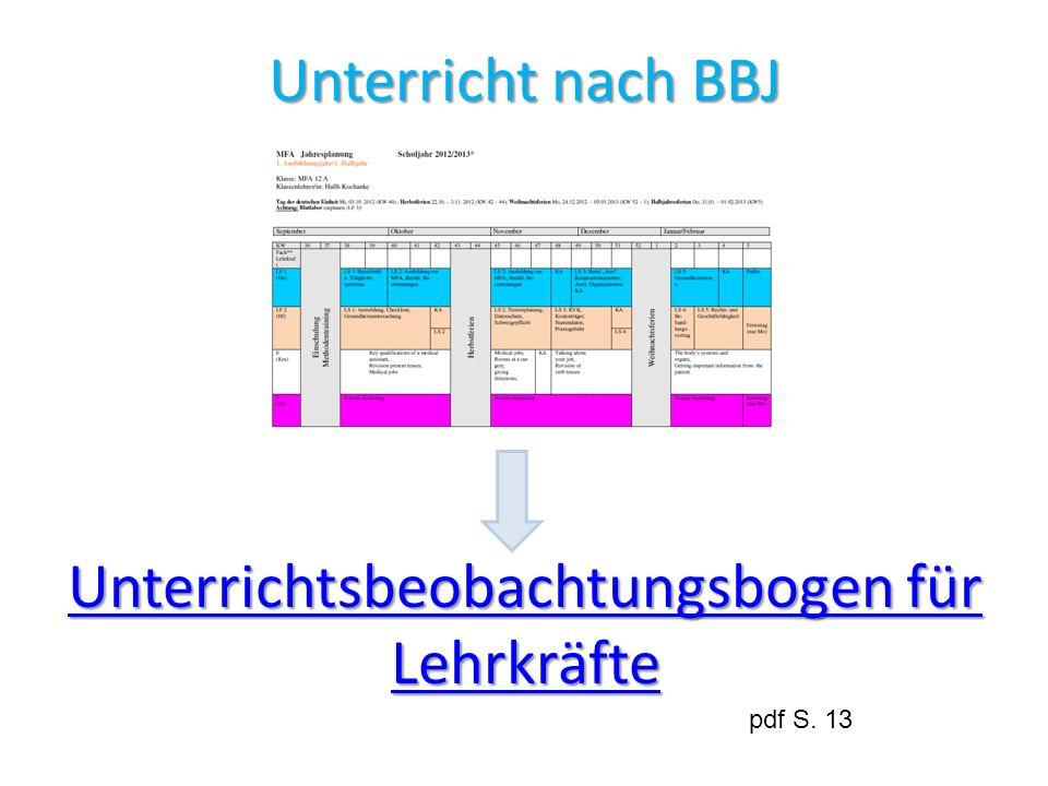 Unterricht nach BBJ Unterrichtsbeobachtungsbogen für Lehrkräfte Unterrichtsbeobachtungsbogen für Lehrkräfte pdf S. 13