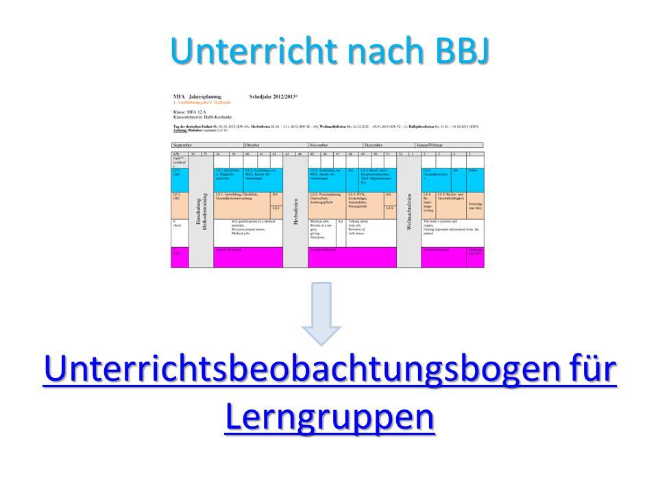 Unterricht nach BBJ Unterrichtsbeobachtungsbogen für Lerngruppen Unterrichtsbeobachtungsbogen für Lerngruppen