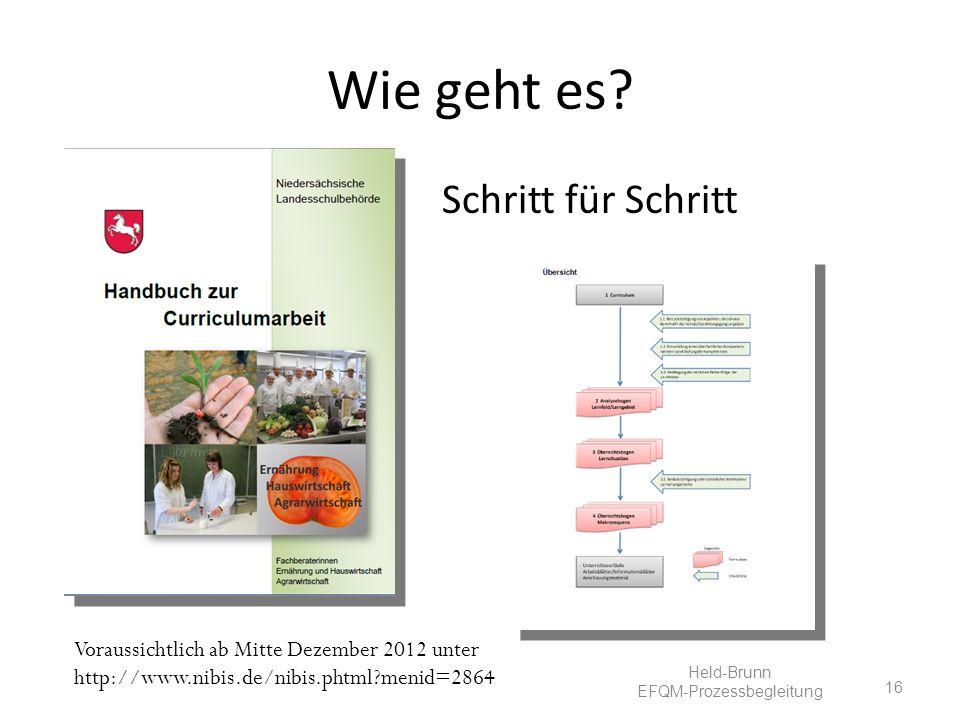 Wie geht es? Schritt für Schritt 16 Voraussichtlich ab Mitte Dezember 2012 unter http://www.nibis.de/nibis.phtml?menid=2864 Held-Brunn EFQM-Prozessbeg