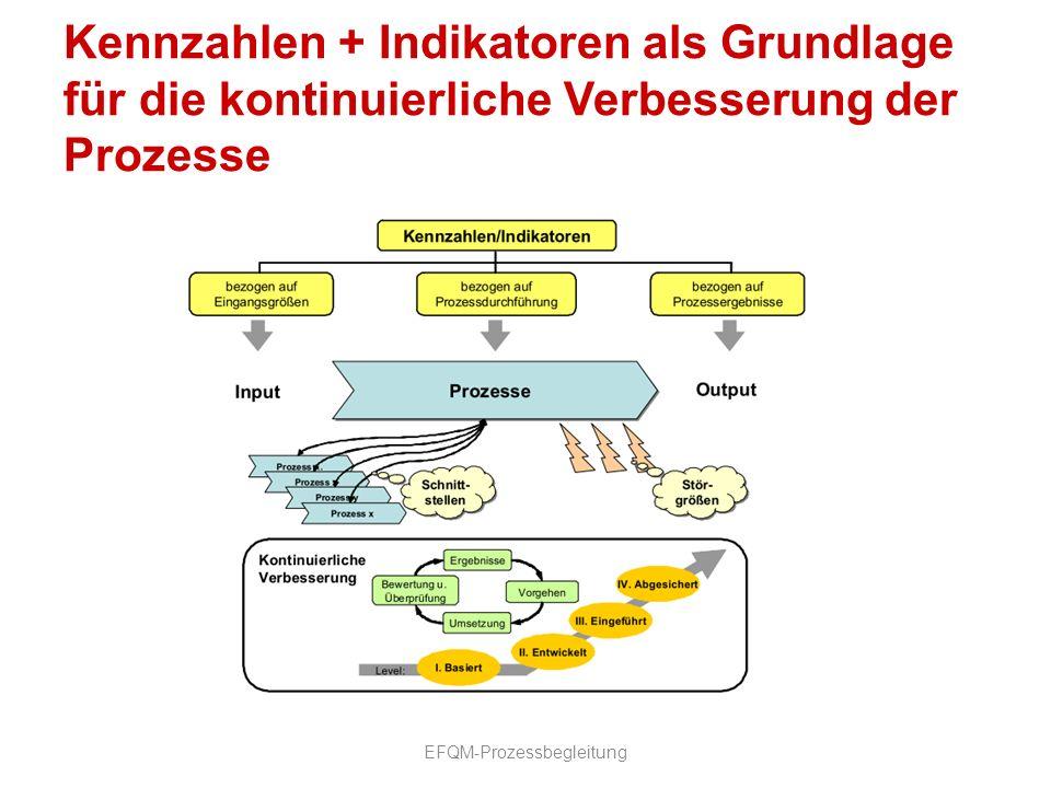 Kennzahlen + Indikatoren als Grundlage für die kontinuierliche Verbesserung der Prozesse EFQM-Prozessbegleitung