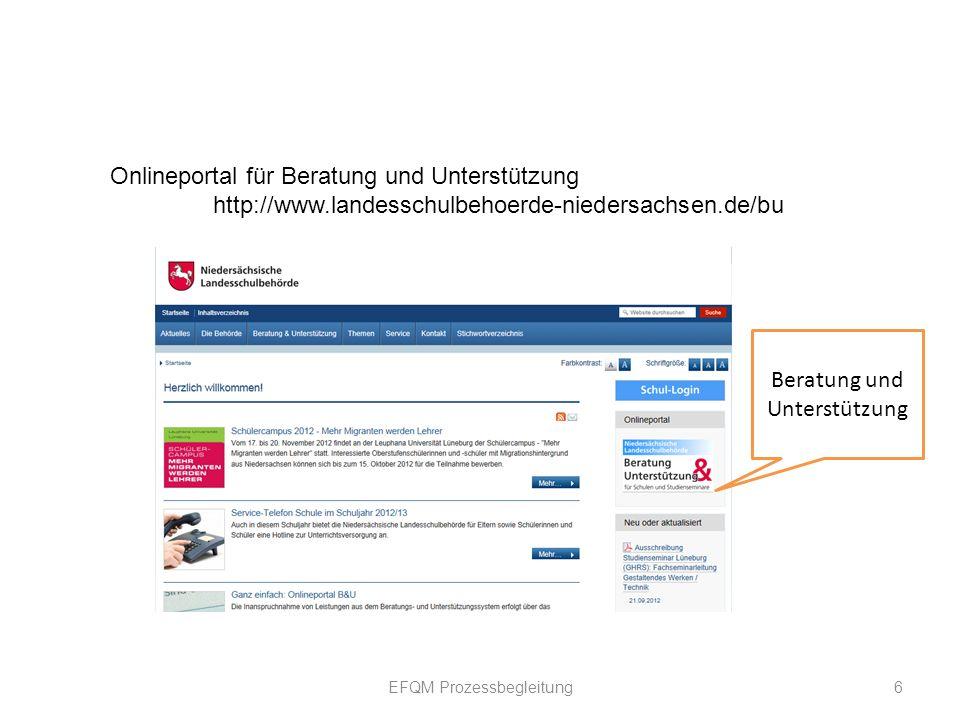 EFQM Prozessbegleitung 6 Onlineportal für Beratung und Unterstützung http://www.landesschulbehoerde-niedersachsen.de/bu Beratung und Unterstützung