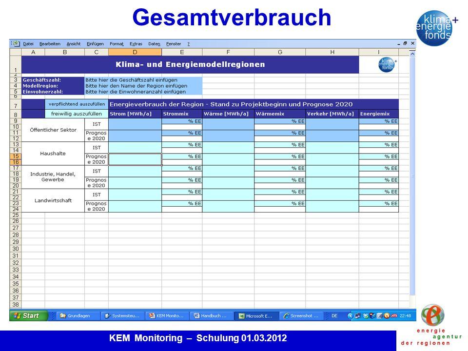 KEM Monitoring – Schulung 01.03.2012 Gesamtverbrauch