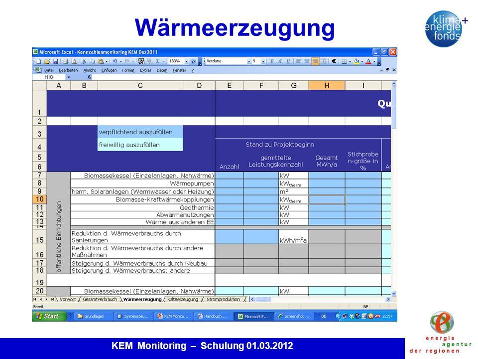 KEM Monitoring – Schulung 01.03.2012 Wärmeerzeugung