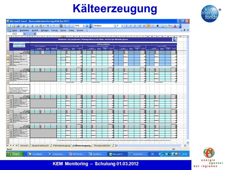 KEM Monitoring – Schulung 01.03.2012 Kälteerzeugung