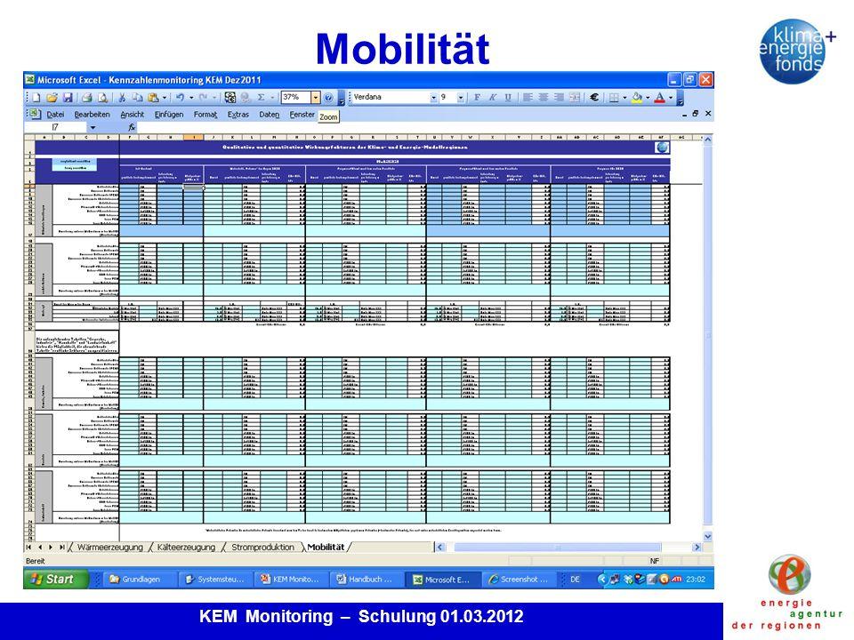 KEM Monitoring – Schulung 01.03.2012 Mobilität