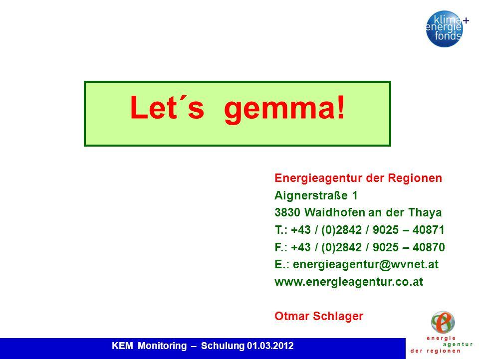 KEM Monitoring – Schulung 01.03.2012 Let´s gemma.