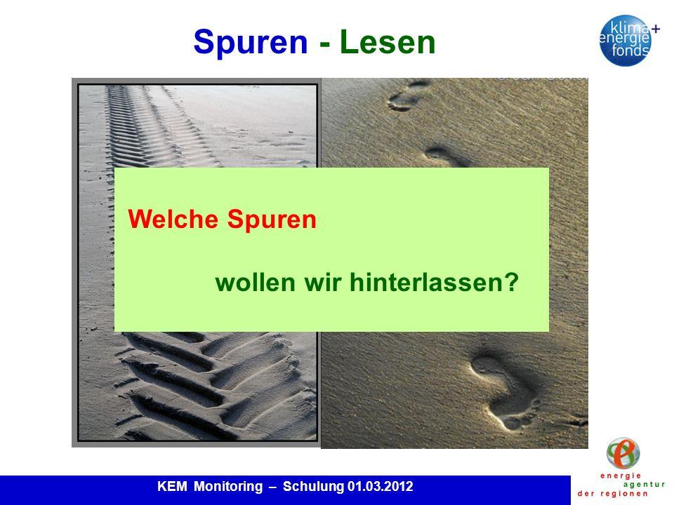 KEM Monitoring – Schulung 01.03.2012 Spuren - Lesen Welche Spuren wollen wir hinterlassen