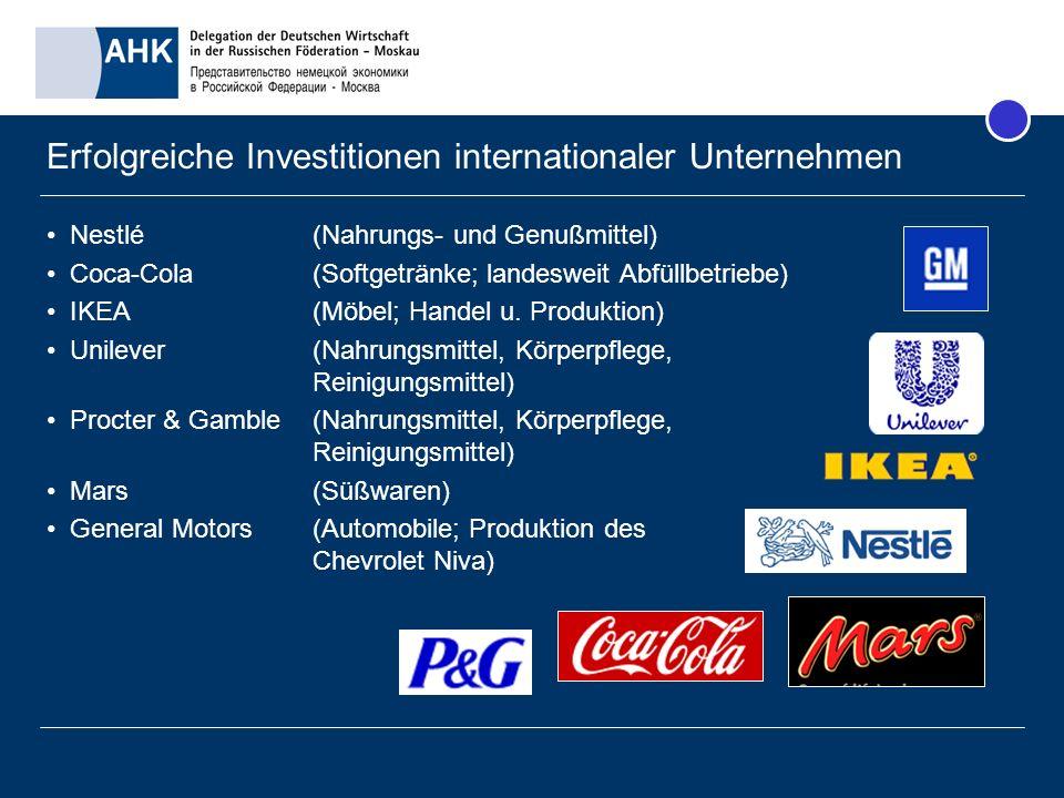 Erfolgreiche Investitionen internationaler Unternehmen Nestlé (Nahrungs- und Genußmittel) Coca-Cola (Softgetränke; landesweit Abfüllbetriebe) IKEA (Mö