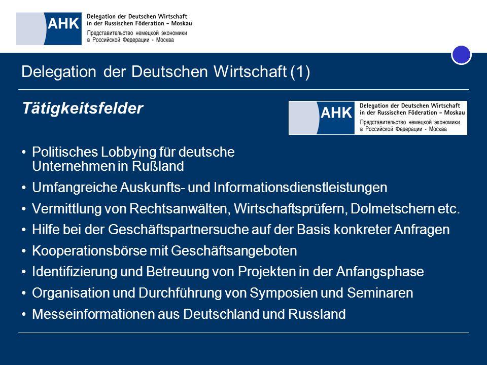 Delegation der Deutschen Wirtschaft (1) Tätigkeitsfelder Politisches Lobbying für deutsche Unternehmen in Rußland Umfangreiche Auskunfts- und Informat
