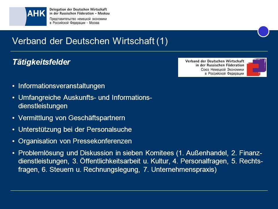 Verband der Deutschen Wirtschaft (1) Tätigkeitsfelder Informationsveranstaltungen Umfangreiche Auskunfts- und Informations- dienstleistungen Vermittlu