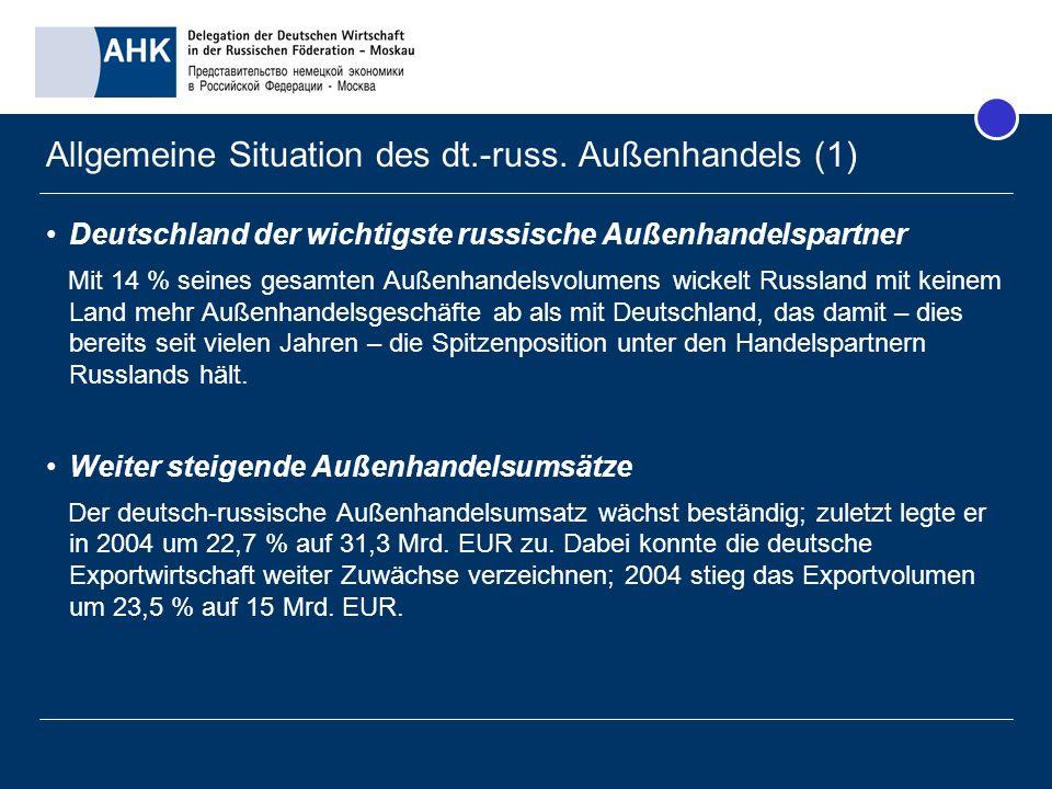 Allgemeine Situation des dt.-russ. Außenhandels (1) Deutschland der wichtigste russische Außenhandelspartner Mit 14 % seines gesamten Außenhandelsvolu
