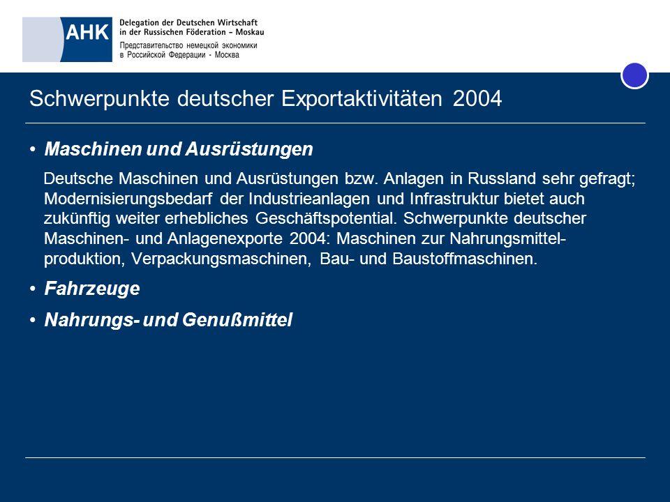 Maschinen und Ausrüstungen Deutsche Maschinen und Ausrüstungen bzw. Anlagen in Russland sehr gefragt; Modernisierungsbedarf der Industrieanlagen und I