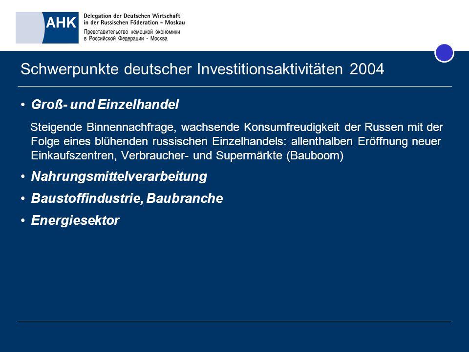 Die deutsche Business Community in Russland Schwerpunkte Moskau und St.