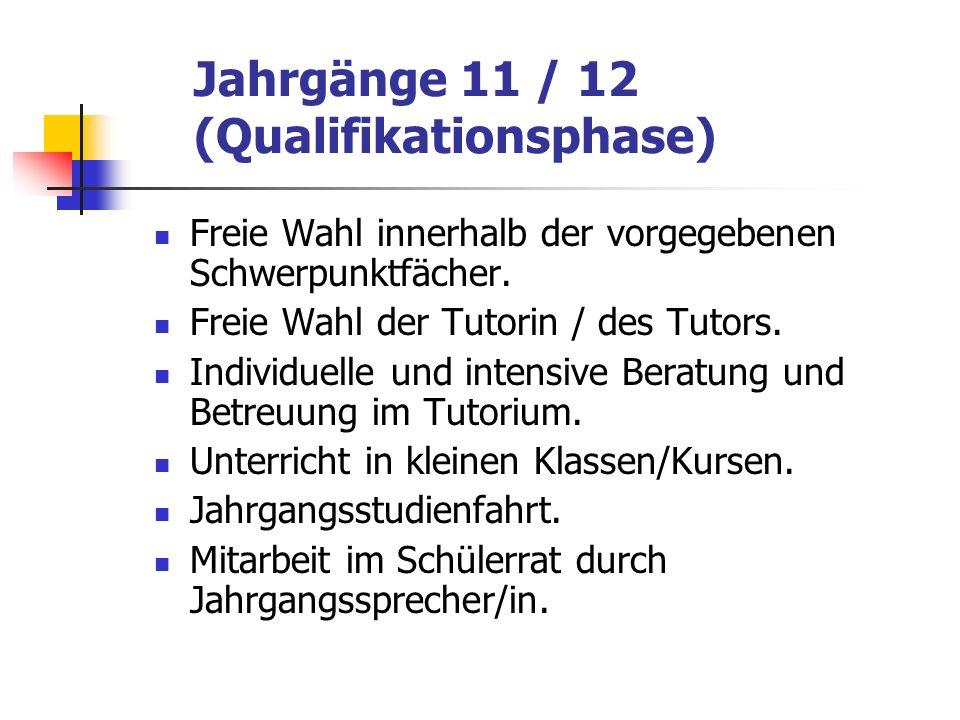 Jahrgänge 11 / 12 (Qualifikationsphase) Freie Wahl innerhalb der vorgegebenen Schwerpunktfächer. Freie Wahl der Tutorin / des Tutors. Individuelle und