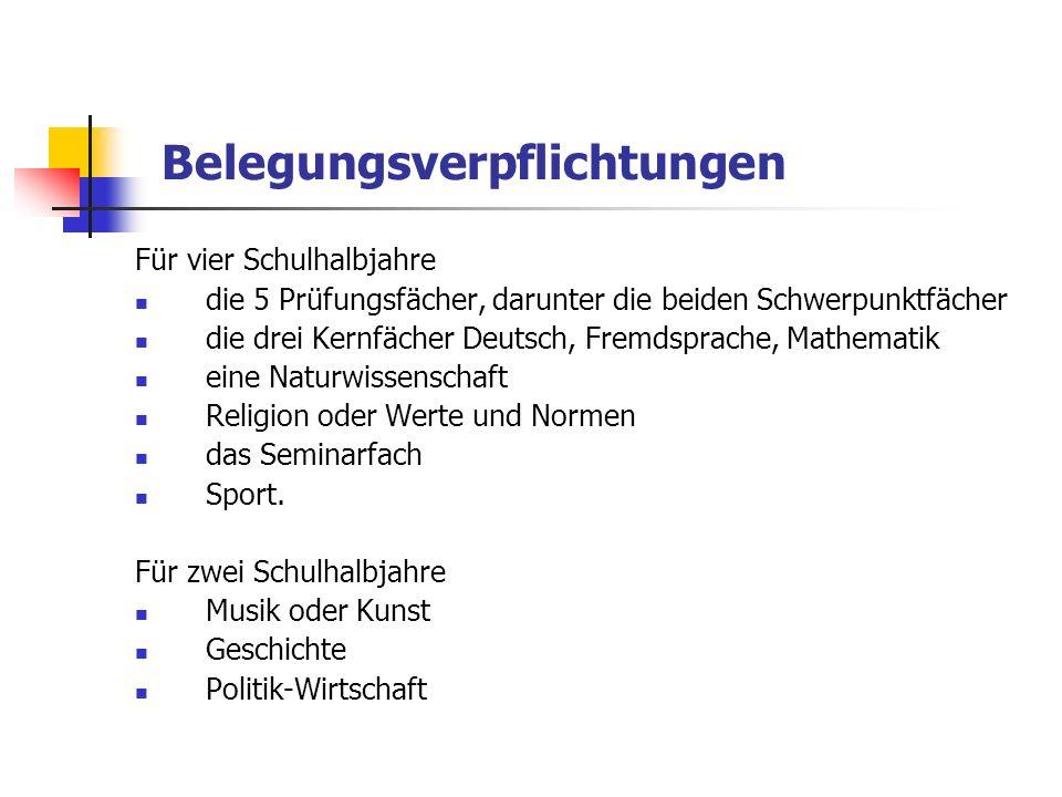 Belegungsverpflichtungen Für vier Schulhalbjahre die 5 Prüfungsfächer, darunter die beiden Schwerpunktfächer die drei Kernfächer Deutsch, Fremdsprache