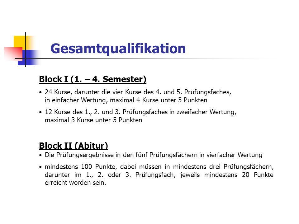Gesamtqualifikation Block I (1. – 4. Semester) 24 Kurse, darunter die vier Kurse des 4. und 5. Prüfungsfaches, in einfacher Wertung, maximal 4 Kurse u
